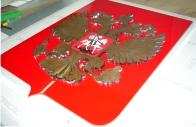 Герб на объемной подложке из металла