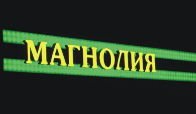 Вывеска сети продуктовых магазинов «Магнолия» ( г.Подольск, Московской обл., Октябрьский пр., д.1).